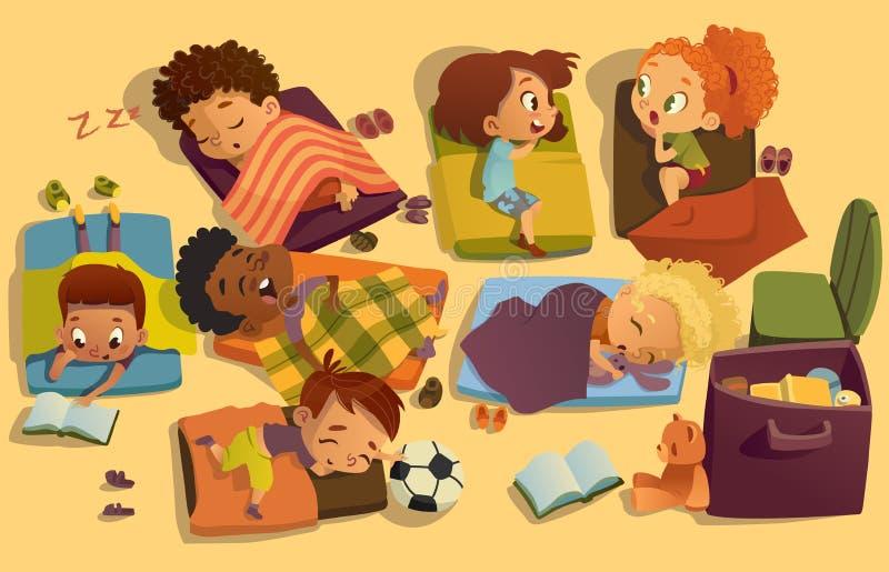 Ta sig en tupplur tid i dagiset Gruppen av blandras- flickor och pojkar har en nyptid på en colorfill att ta sig en tupplur mats  vektor illustrationer