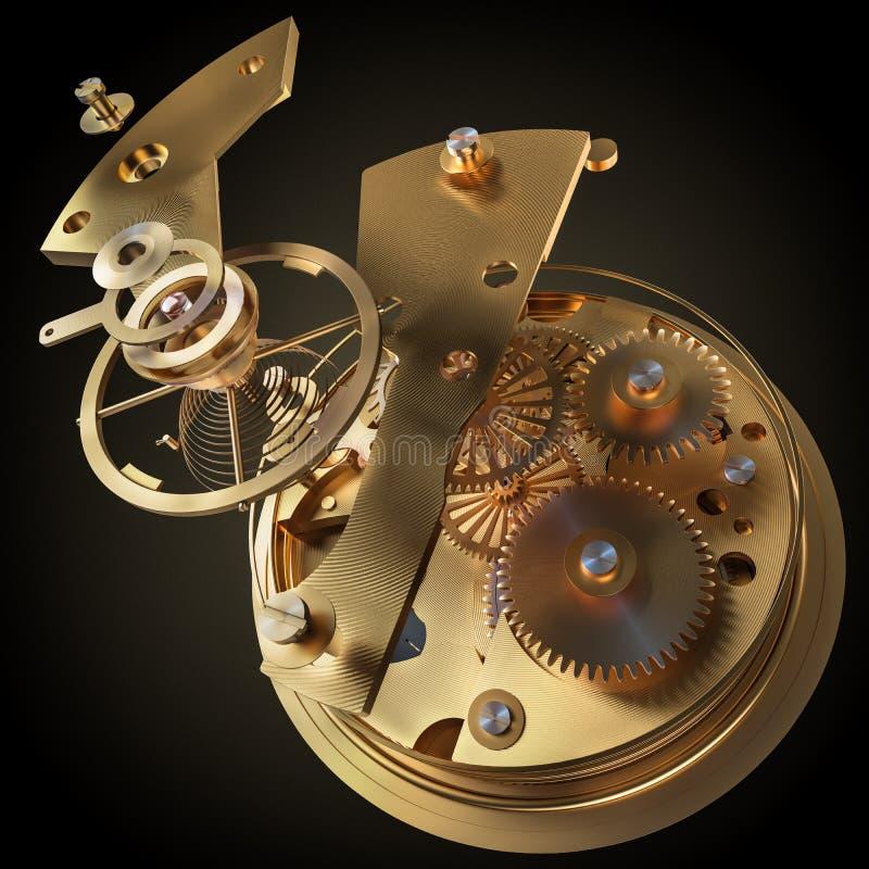 Ta tid på mekanismen som göras i tekniken av toningen Mycket grunt djup av sätter in Fokus på de centrala kugghjulen stock illustrationer