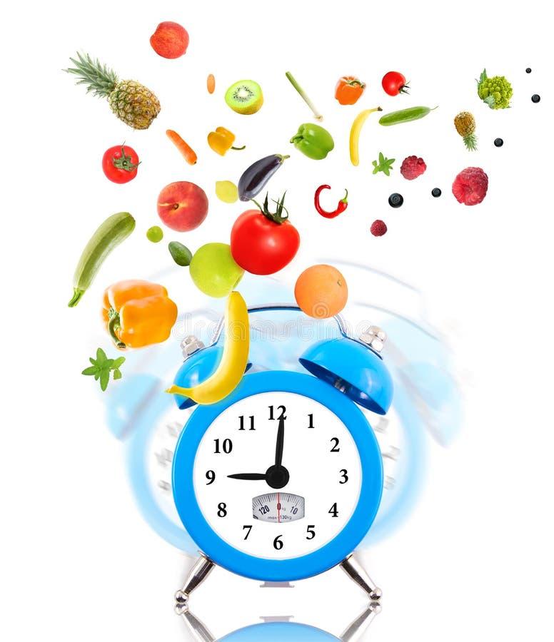 Ta tid på, skalavisartavlan, frukter och grönsaker. arkivbilder