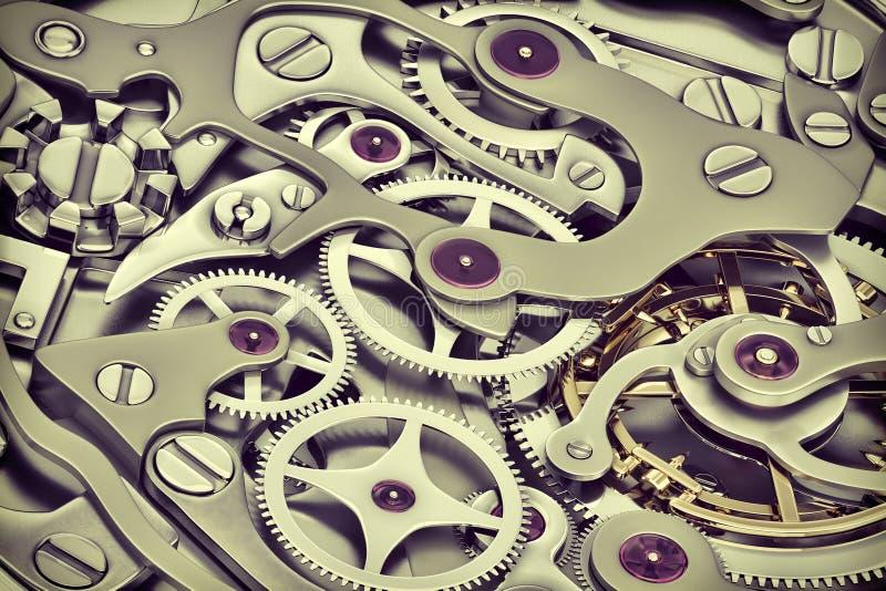 Ta tid på tolkningen för maskineri 3D med kugghjulnärbildsikt vektor illustrationer