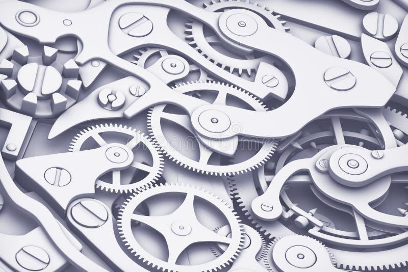 Ta tid på tolkningen för maskineri 3D med kugghjulnärbildsikt Plan modefärgstil vektor illustrationer