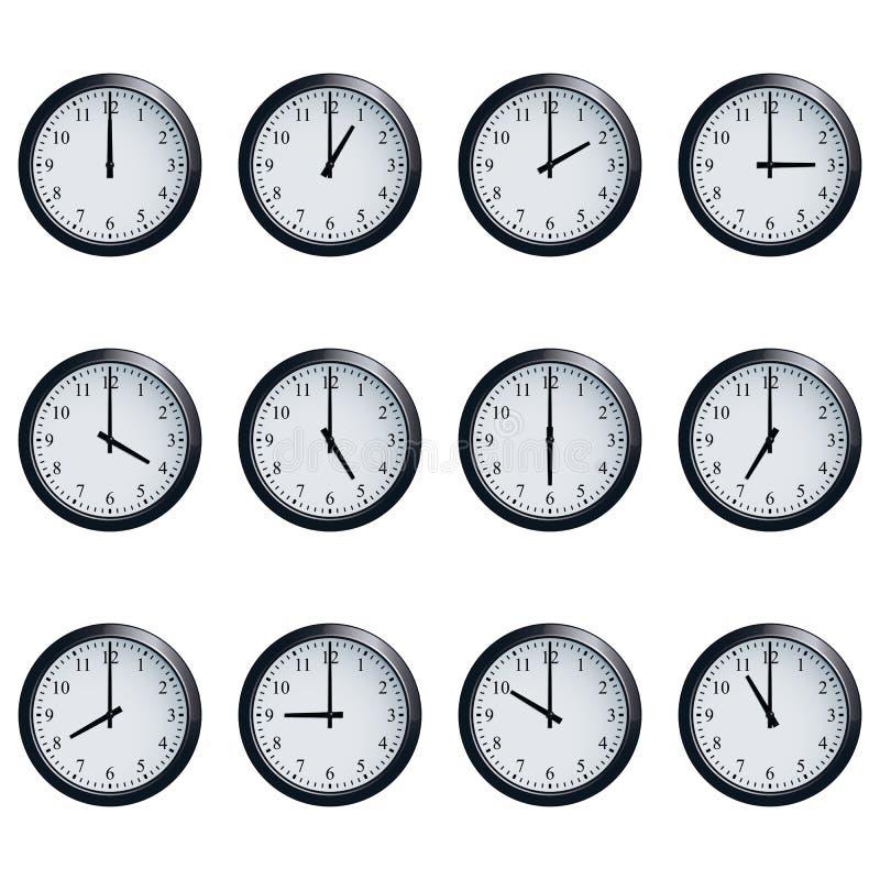 Ta tid på uppsättningen som tajmas på varje timme på vit bakgrund vektor illustrationer