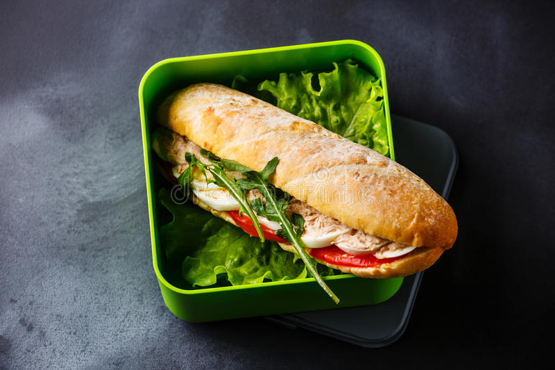 Ta ut matsmörgåsen med tonfisk och grönsallat i lunchask arkivbilder