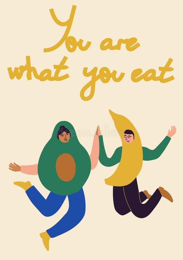 ?ta vad dig Folk i avokadot, banandräkt ?ta f?r begrepp som ?r sunt Vektorillustration för banret, vykort, affisch royaltyfri illustrationer