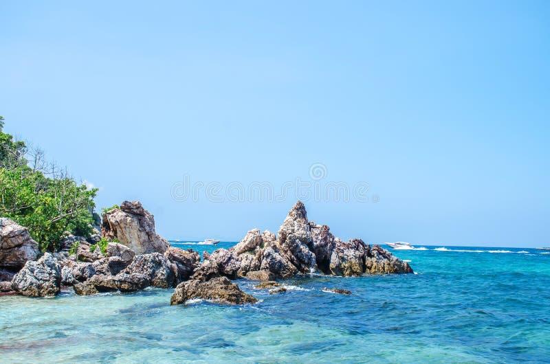 Ta Yai beach at Koh Larn island in Pattaya, Thailand. Beautiful beach with big rocks and clear water and white sand. A Ta Yai beach at Koh Larn island in Pattaya royalty free stock photo