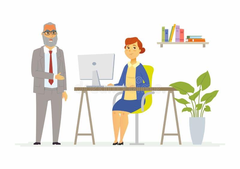 Taaie bespreking met werkgever - moderne de karaktersillustratie van beeldverhaalmensen royalty-vrije illustratie