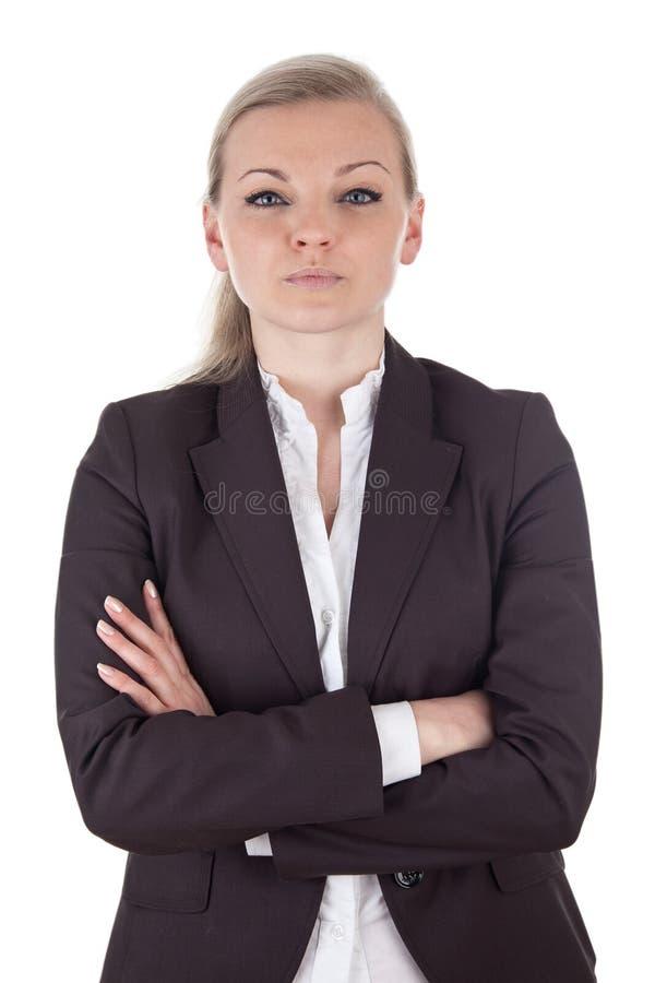Taaie blonde bedrijfsvrouw stock afbeeldingen