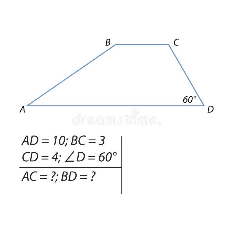 Taak om de grondbeginselen van een trapezoïde te berekenen vector illustratie