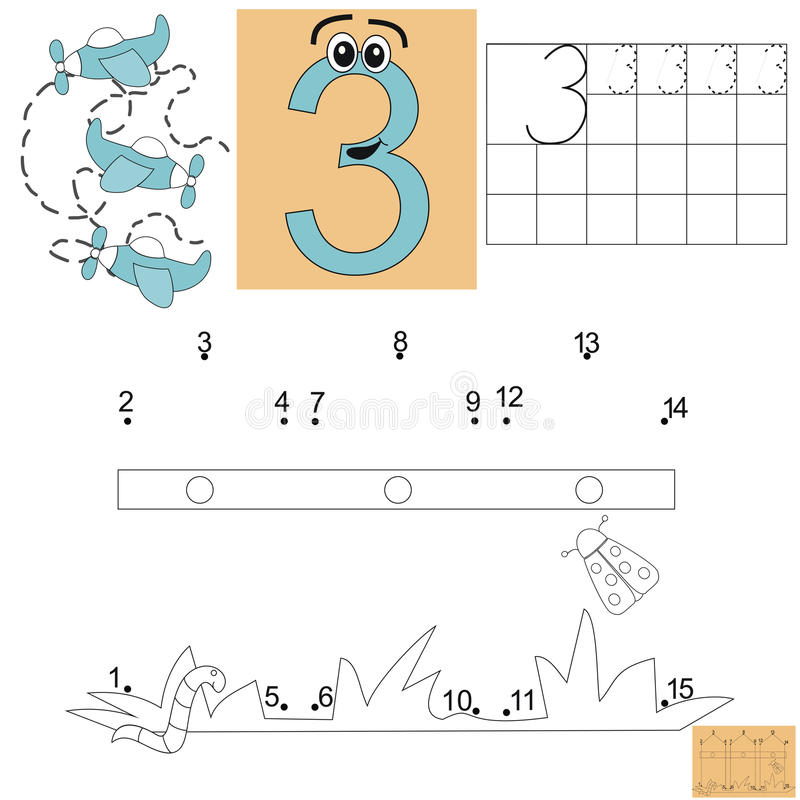 Taak voor kinderen in wiskunde Figuur drie Verbind punten en schilder de omheining royalty-vrije illustratie