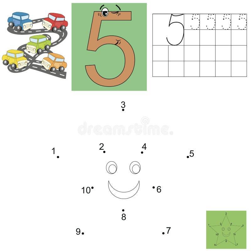 Taak voor kinderen in wiskunde Het cijfer van vijf Verbind punten en schilder een ster vector illustratie