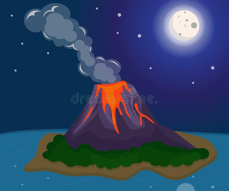 Taakdossier: De maan van de het eilandnacht van de vulkaanuitbarstinglava royalty-vrije illustratie