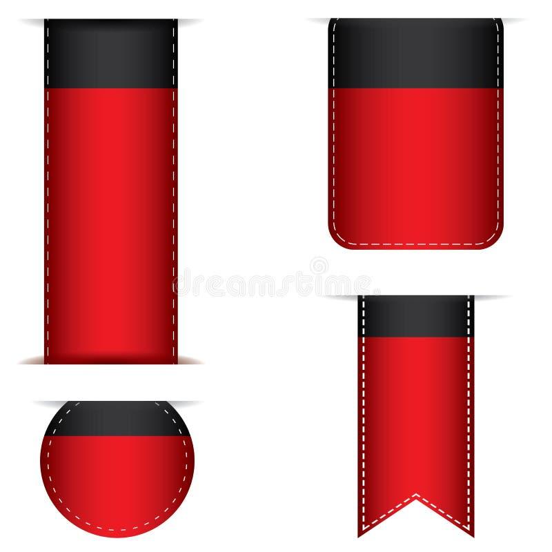 Tab Banner e projeto vermelho da fita isolados no fundo ilustração royalty free