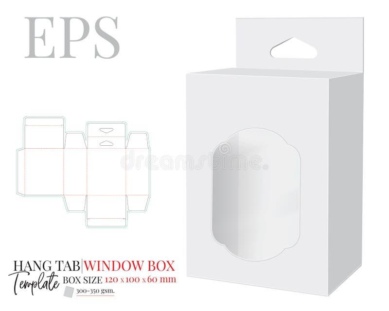 Tab Box Template mit Fenster mit Delta-Loch, Vector mit Abstell- und Laserschneidlinien Weiße, klare, leere, isolierte Hang Tab m vektor abbildung