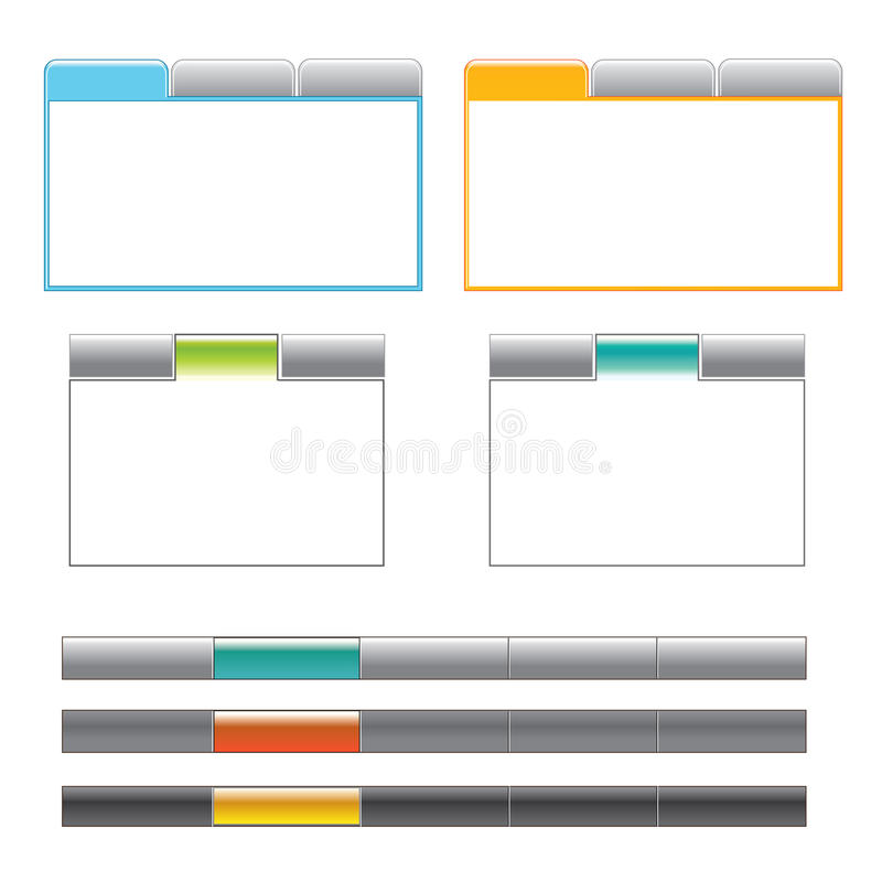 Tab boxes and main navigation menu. A set of 2 tab styles in 2 different color styles and 3 menu navigations in different colors vector illustration