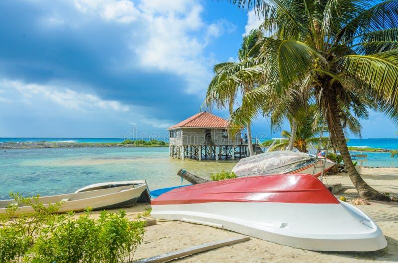 Tabaco Caye - peque?a isla tropical en la barrera de arrecifes con la playa del para?so, mar del Caribe, Belice, America Central imagen de archivo libre de regalías