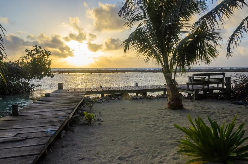 Tabaco Caye - peque?a isla tropical en la barrera de arrecifes con la playa del para?so, mar del Caribe, Belice, America Central fotos de archivo libres de regalías