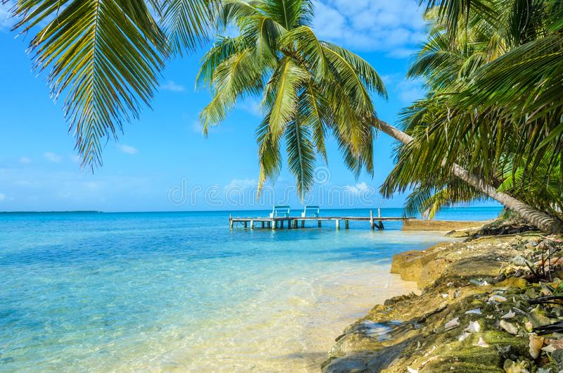 Tabaco Caye - relajándose en el embarcadero de madera en la pequeña isla tropical en la barrera de arrecifes con la playa del par imagenes de archivo