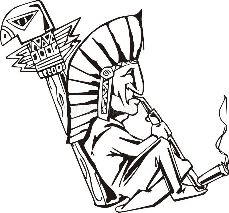 Tabaco-tubulação de fumo do curandeiro nativo ilustração royalty free