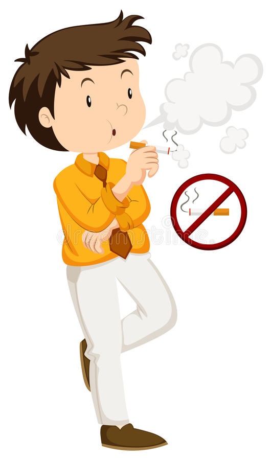 Tabagisme d'homme et signe non fumeur illustration stock