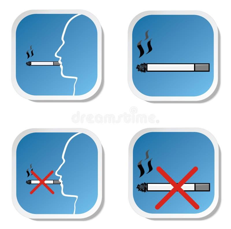 Tabagisme et signe non-fumeurs illustration stock