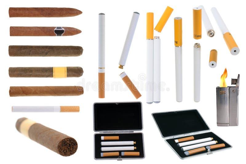 Tabakprodukte und elektronische Zigarette stockfotografie