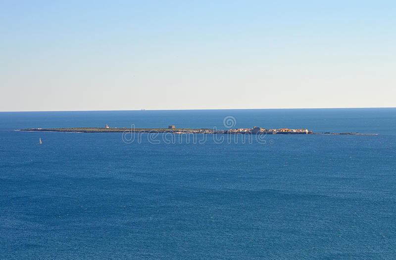 Tabarca Island Viewed From Santa Pola Lighthouse royalty free stock images