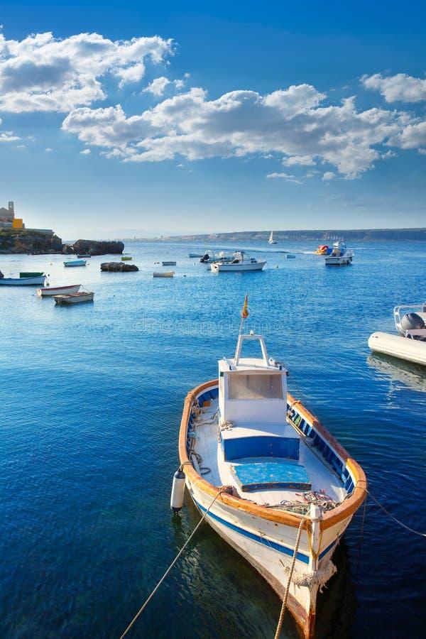 Tabarca wysp łodzie w Alicante Hiszpania obraz stock