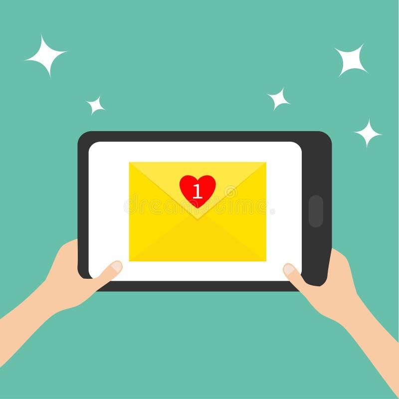 tabasco Руки держа genering устройство таблетки электронная почта охваывает получать почт иконы открытый Бумажный конверт Шаблон  бесплатная иллюстрация
