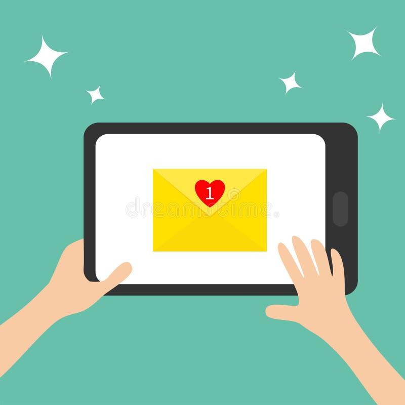 tabasco Руки держа genering устройство таблетки электронная почта охваывает получать почт иконы открытый Желтый бумажный конверт  бесплатная иллюстрация