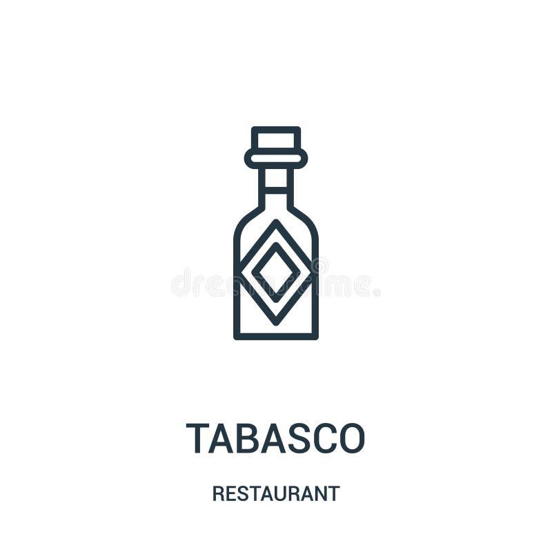 tabasco symbolsvektor från restaurangsamling Tunn linje illustration för vektor för tabasco översiktssymbol stock illustrationer