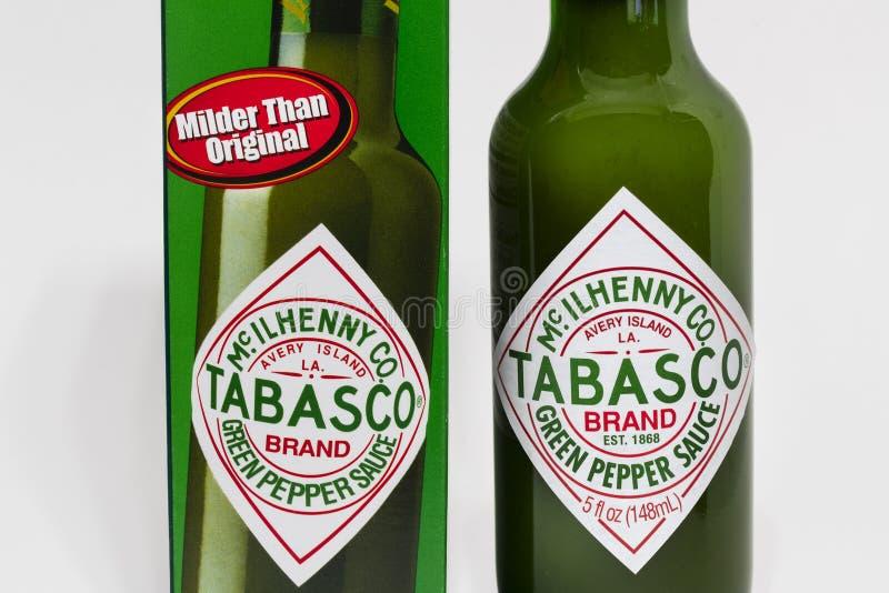 Tabascosaus door McIlhenny Company en Trademark Logo stock afbeelding