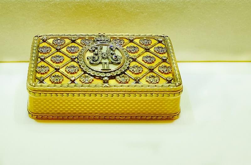 Tabatière d'or d'empereur Nicholas II photo stock