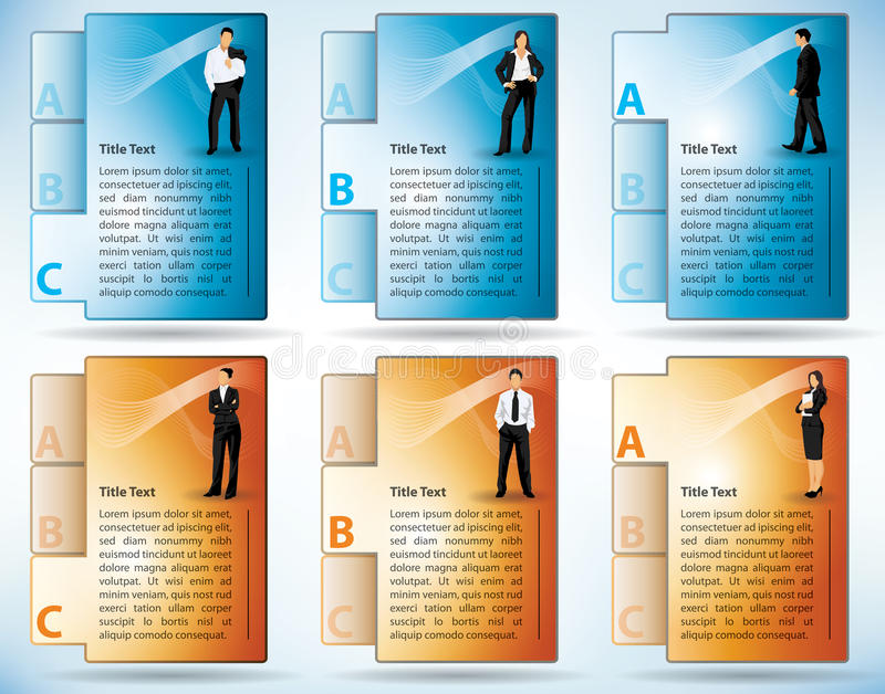 Tabbed File Templates Of Business People stock illustration