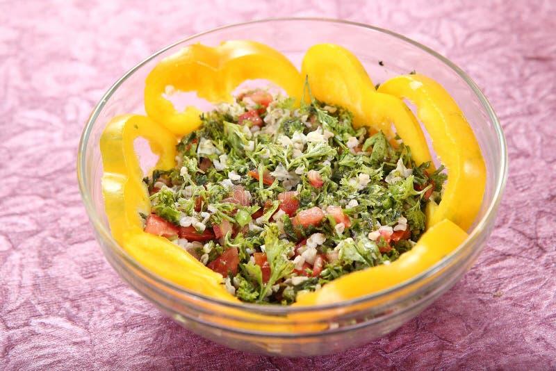 Tabbouleh,塔帕纤维布, Levantine素食主义者沙拉 免版税库存图片