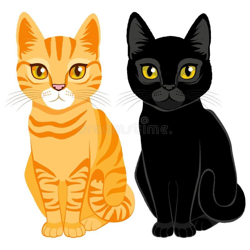 Tabby и черные коты иллюстрация штока
