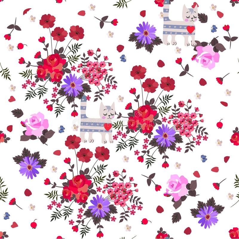 Tabby cats and bouquets of garden flowers on white background. Seamless romantic pattern for curtain vector illustration
