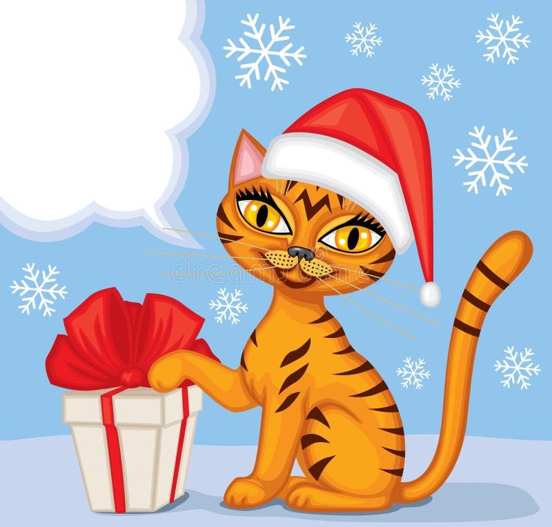 Tabbykatze wünscht frohe Weihnachten lizenzfreie abbildung