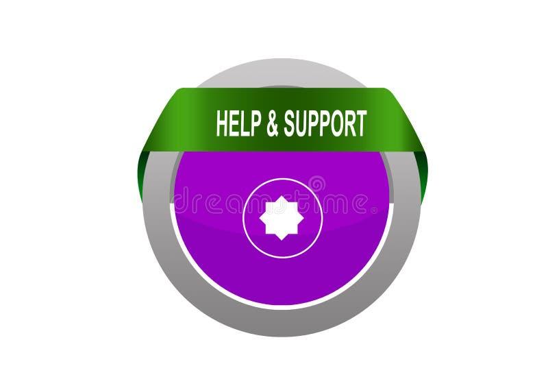 Tabe redondo del círculo con el botón de la ayuda y de la web de la marca de la flecha de la ayuda stock de ilustración