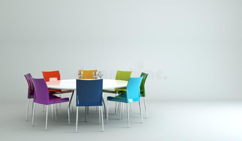 Tabel do design de interiores da sala de jantar com cadeiras ilustração do vetor