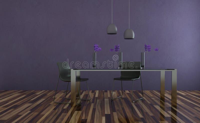 Tabel do design de interiores da sala de jantar com cadeiras ilustração stock