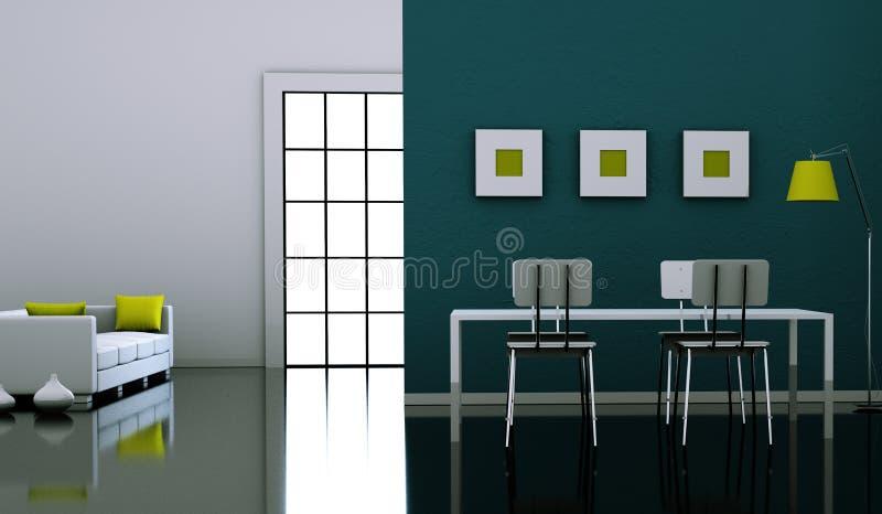 Tabel do design de interiores da sala de jantar com cadeiras ilustração royalty free