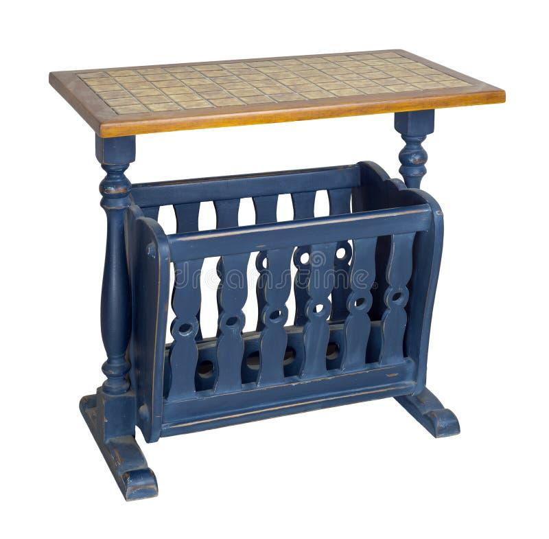 Tabela azul de madeira do lado da cremalheira de compartimento do vintage isolada no fundo branco que inclui o trajeto de grampea imagens de stock royalty free