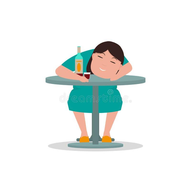 Tabela bêbado do sono da mulher dos desenhos animados do vetor ilustração stock