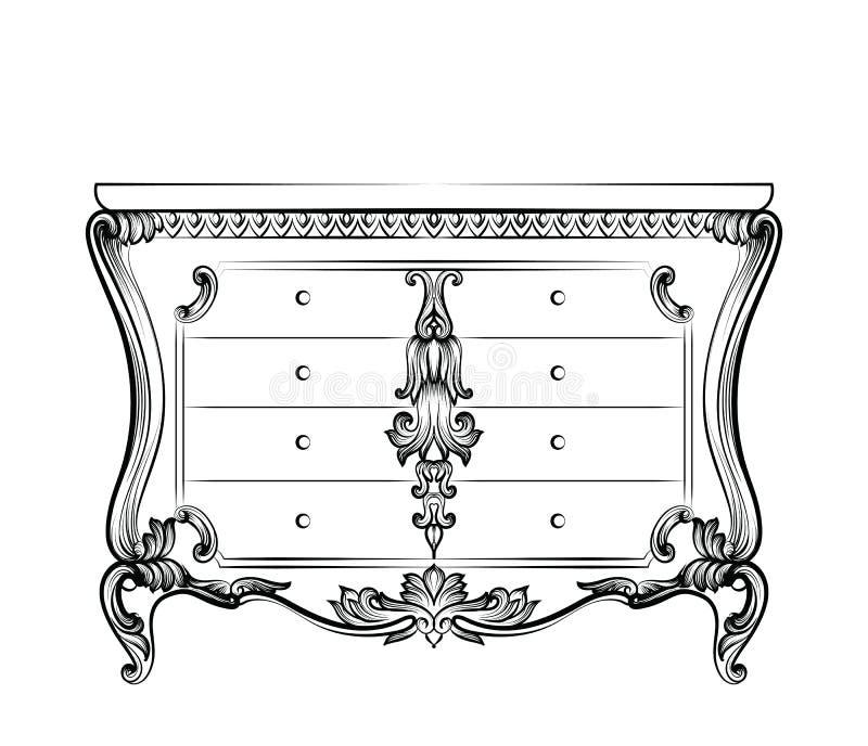 Tabela barroco imperial fabulosa excelente da caixa com gavetas Estrutura ornamented intrincada rica luxuosa francesa do vetor ilustração stock