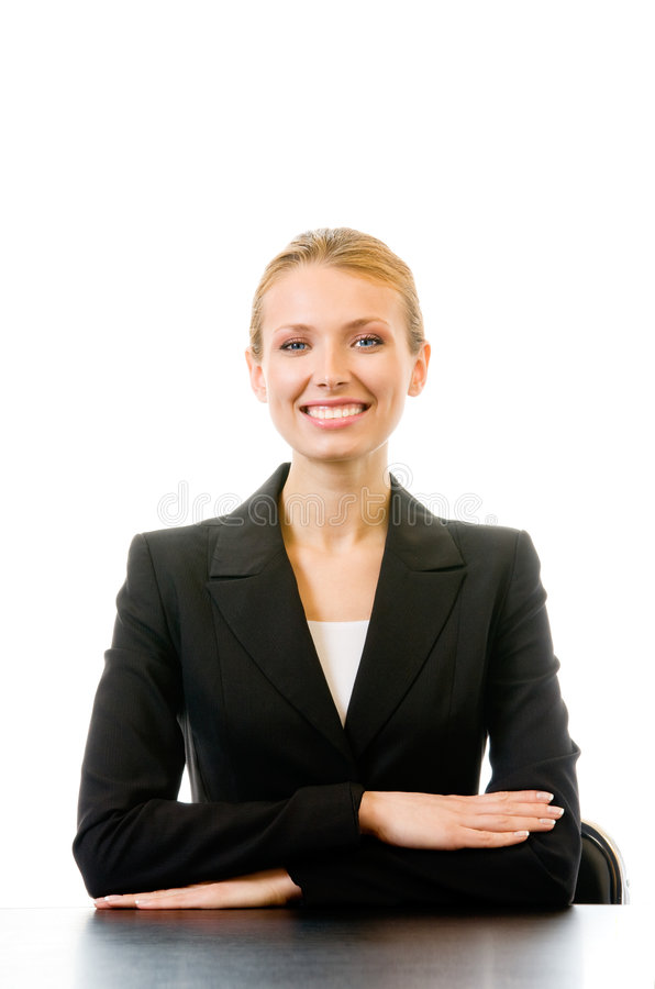 tabela bizneswoman odizolowane zdjęcie stock