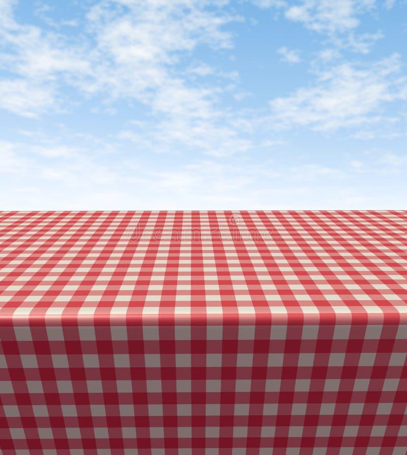 Tabela Checkered de pano ilustração stock