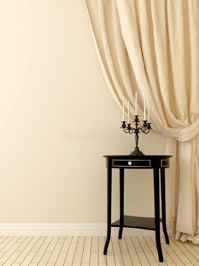 Tabela clássica e cortinas bege ilustração stock