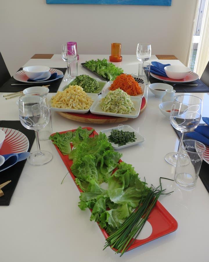 Tabela colocada com alimento coreano fotografia de stock royalty free