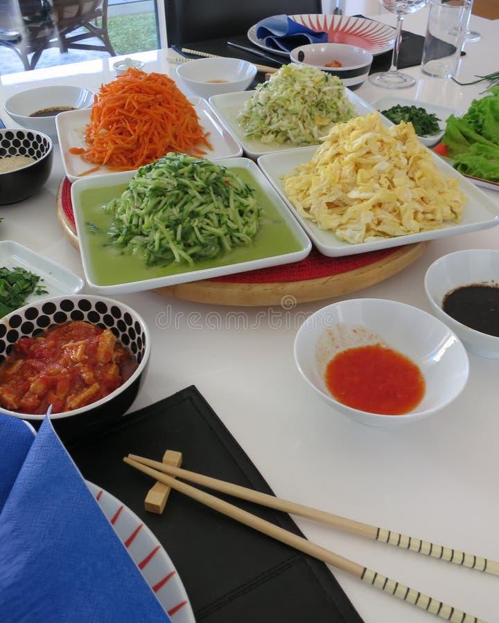 Tabela colocada com alimento coreano imagem de stock royalty free