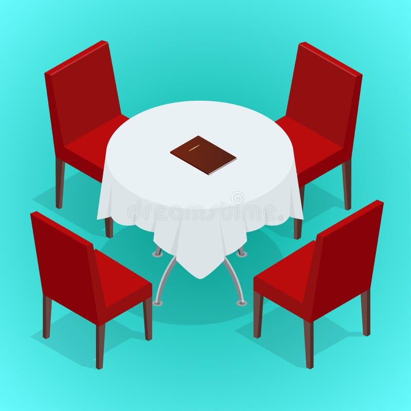 Tabela com as cadeiras para cafés Tabela e cadeiras modernas no fundo branco Ilustração isométrica lisa do vetor 3d ilustração royalty free